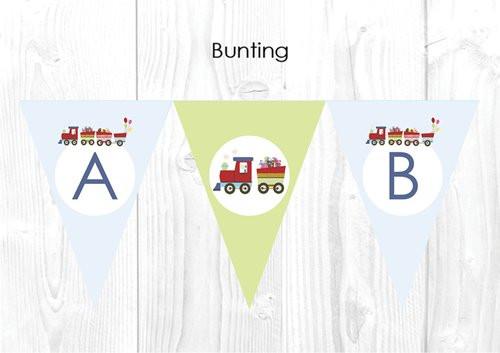 Choo Choo Train Christening & Baptism Personalised Bunting Flags