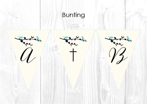 Two Blue Birds Christening & Baptism Personalised Bunting Flags