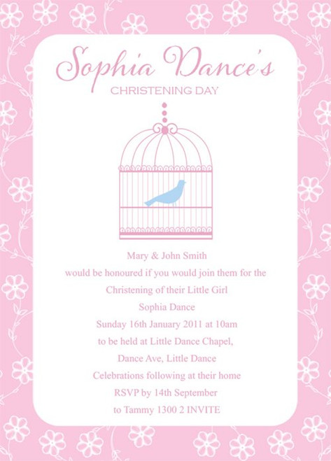 Birdcage Christening & Baptism Invitations