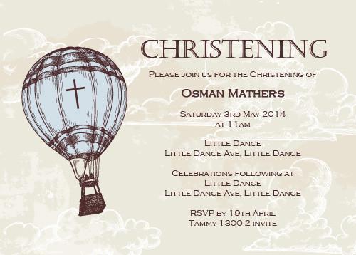 Vintage Hot Air Balloon Christening & Baptism Invitations