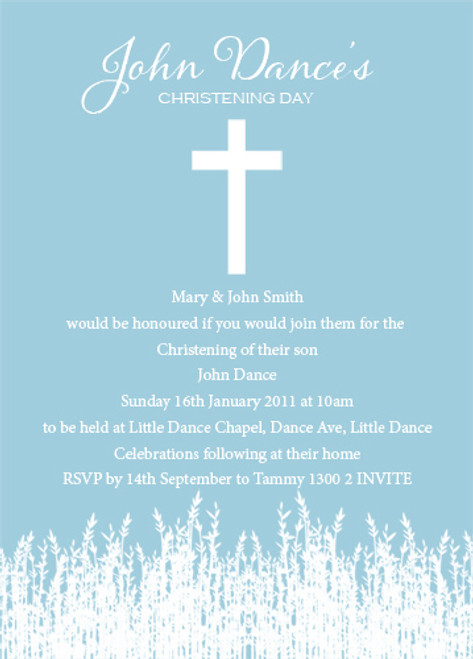 Blue fields Baptism Naming and Christening Invitations
