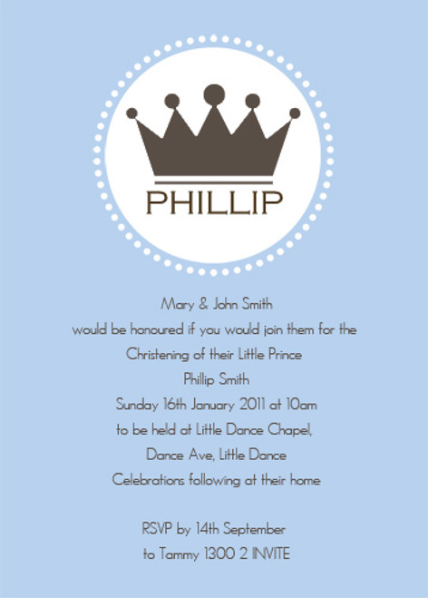 Little Prince Baptism Naming and Christening Invitations