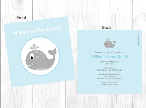 Little Whale Baptism Naming and Christening Invitations
