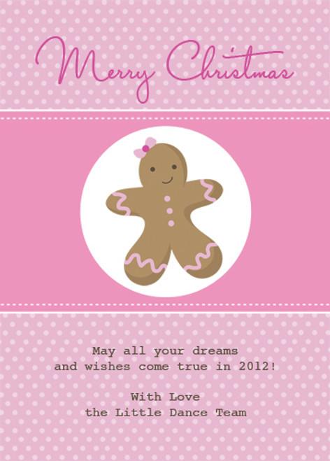 Pink Gingerbread Man Christmas Greeting Card. Personalised greeting card printed online in Australia