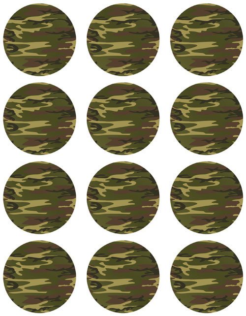 Camouflage Cupcake & Cookie Icing Sheets