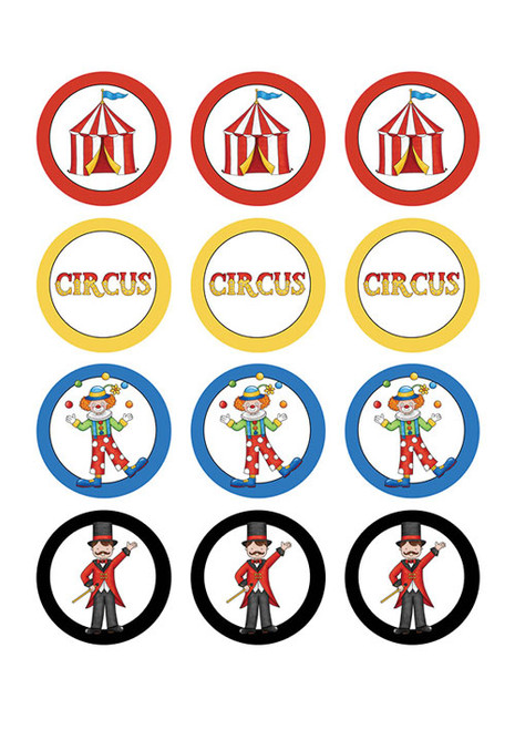 Circus Themed Cupcake & Cookie Icing Sheets