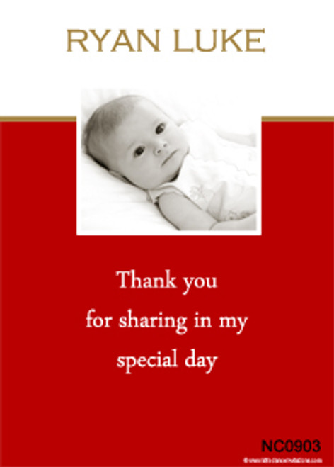 Red Baptism Naming and Christening Invitations