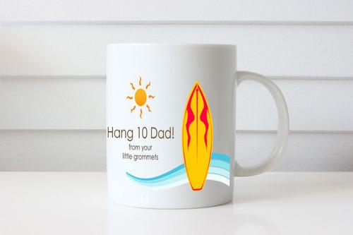 Hang 10 Dad Custom Named Mug