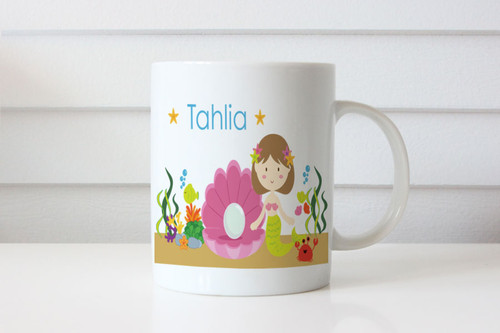 Brunette Mermaid Personalised Mug - Personalised Coffee Mug Gift with Mermaid and your name on it. Made in Melbourne Australia