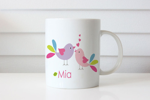 Love Birds Personalised Custom Name Mug - Personalised coffee mug gift with Love Birds and your name on it. Made in Melbourne