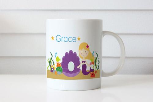 Blonde Mermaid Personalised Custom Name Mug