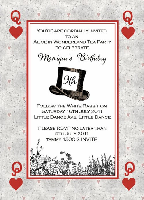Mad Hatters Tea Party Birthday Party Invitation