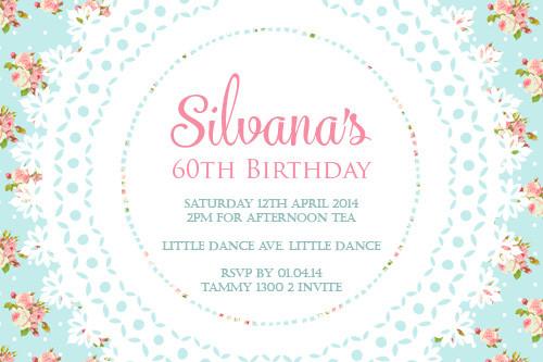 Blue Vintage Shabby Chic Birthday Party Invitations