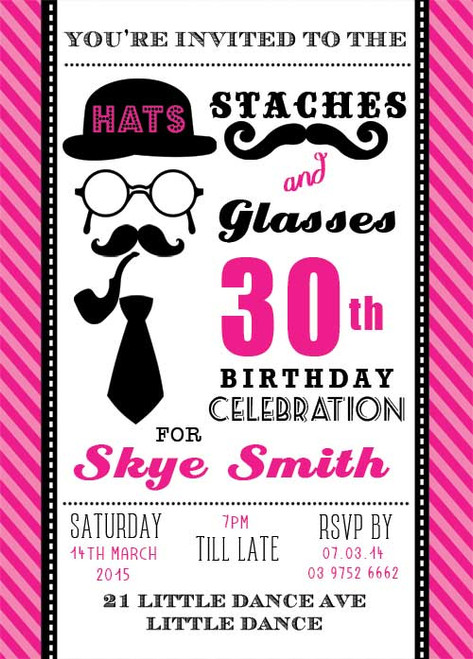 Staches & Gasses Party Birthday Invitations