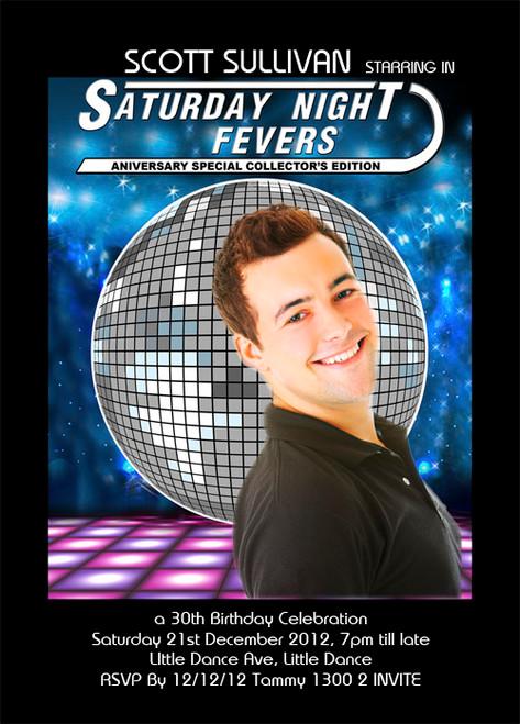 Saturday Night Fever Birthday Party Invitation