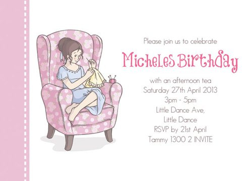 Sip n Sew Birthday Party Invitation personalized for your sewing party. Printed in Australia. For sale online. Buy with Afterpay, PayPal or card
