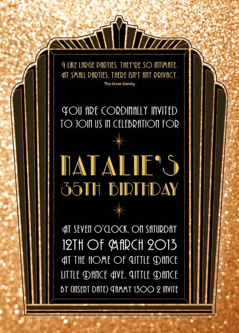 The Great Gatsby 1920s Birthday Party Invitation. Printed in Australia. Buy with Afterpay, PayPal or card
