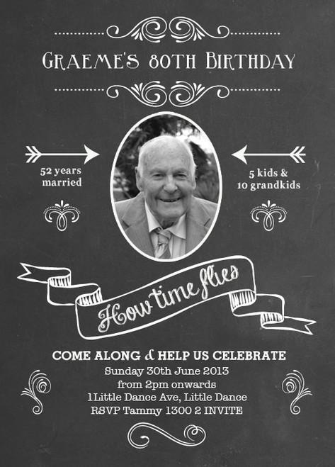 Chalkboard Blackboard Birthday Party Invitation