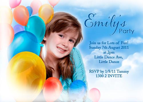 Personalised kids birthday party invites - Fun balloon party theme