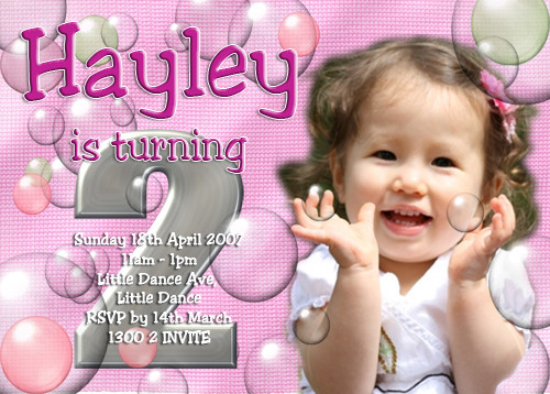 Pink Bubbles Birthday Party Invitation