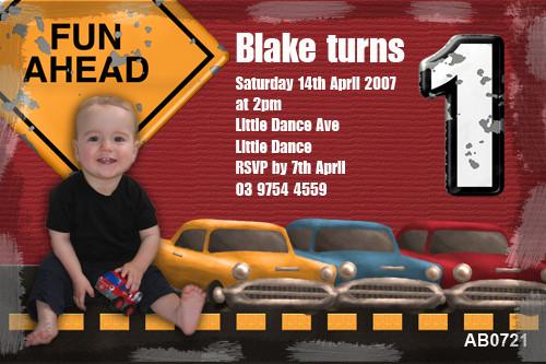 Boys Cars Birthday Party Invitation