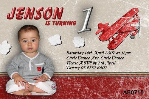 Boys Aeroplane Birthday Party Invitation