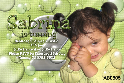 Green Bubbles Birthday Party Invitation