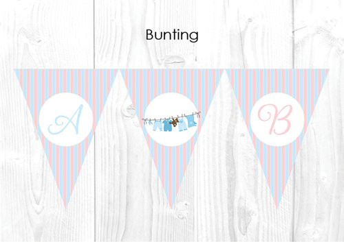 Pink and Blue Chevron Gender Neutral Baby Shower Themed Personalised Decoration Bunting flags.