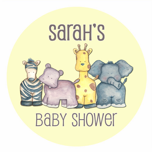 Custom baby shower edible image icing or frosting sheet. Personalized - Baby Safari Animals Theme