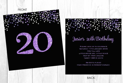 Personalised 20th birthday party invitation