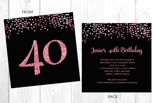 Personalised 40th birthday invitation. Custom 40th birthday party invitations printed in Australia. Buy with AfterPay