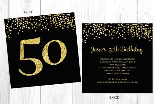 Personalised 50th birthday party invitation