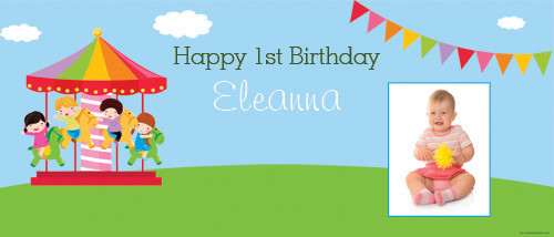Carousel Carnival Personalised Birthday Party Banners.