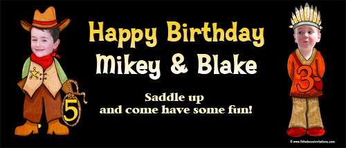 Cowboys & Indians Birthday Party Banner