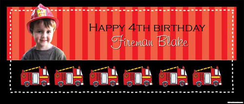 Fireman Fire Engine Party Personalised Birthday Banner.