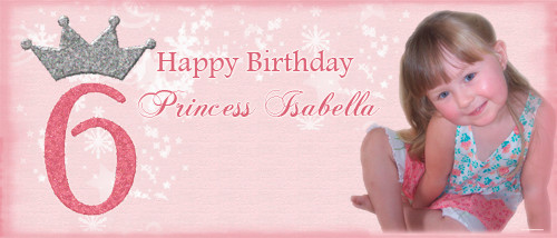 Personalized girls birthday party banner with photo - Princess theme. Order online in Australia