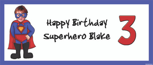 Personalized kids or boys birthday party banner with photo - Super hero theme. Printed in Australia