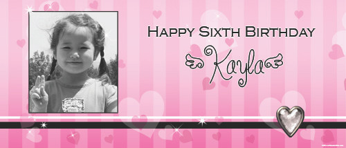 Personalized girls birthday party banner with photo - Sweet Heart theme, pink background. Buy online in Australia