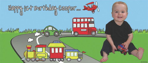 Personalized young kids birthday party banner with photo - Trains, planes, automobiles theme.