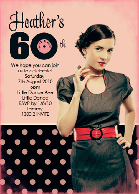 Retro Birthday Party Invitation with a vintage 50's theme. Personalised with your message, name and party details. Printed or printable invitations available. Made in Australia. Buy online with Afterpay, PayPal or card.
