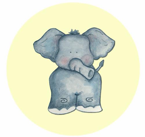 Little Elephant Party Spot Sticker Labels
