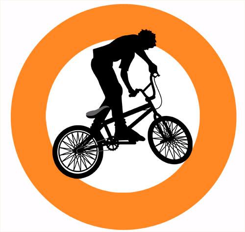 Orange BMX Party Spot Sticker Labels