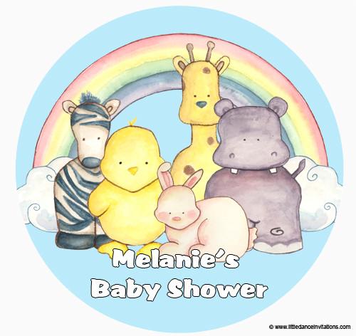Personalised Cake Icing - Baby Shower Cake - Baby Animals