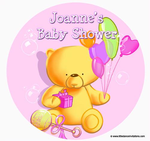Personalised Cake Icing - Baby Shower Cake - Girl Teddy Bear