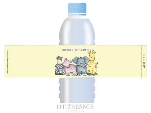 Safari Animals theme personalised & custom baby shower water bottle labels for sale. Order online in Australia