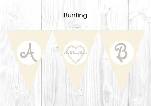 Diamonds and Cream Girls Themed Personalised Baptism & Christening Decoration Bunting flags.