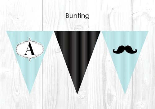 Little Moustache Themed Personalised Baptism & Christening Decoration Bunting flags.
