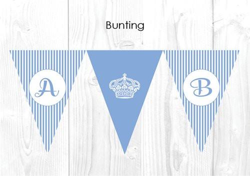 Royal Light Blue Stripe Personalised Baptism & Christening Decoration Bunting flags.