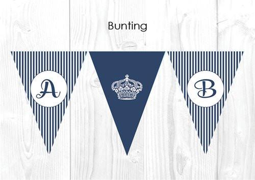 Royal Navy Stripe Personalised Baptism & Christening Decoration Bunting flags.