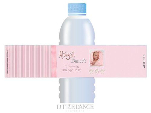 Pink Ribbon Christening, Baptism, Naming Day Personalised Water Bottle Labels. Australian retail shop